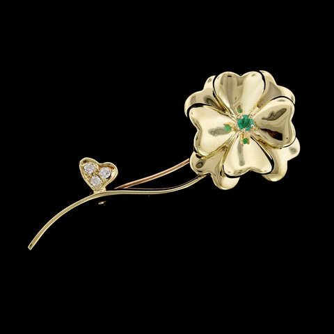 14K Yellow Gold Estate Emerald and Diamond Clover Pin