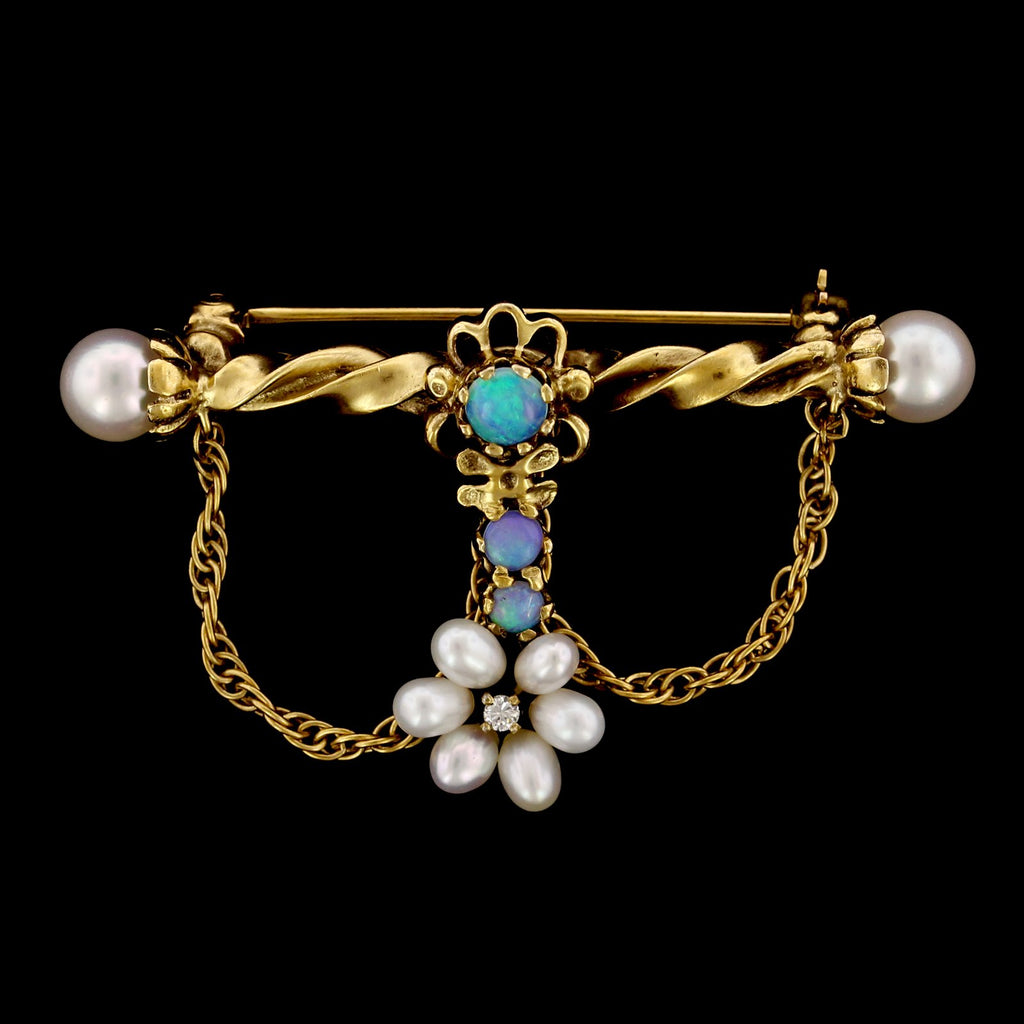 14K Yellow Gold Cultured Pearl, Opal and Diamond Pin