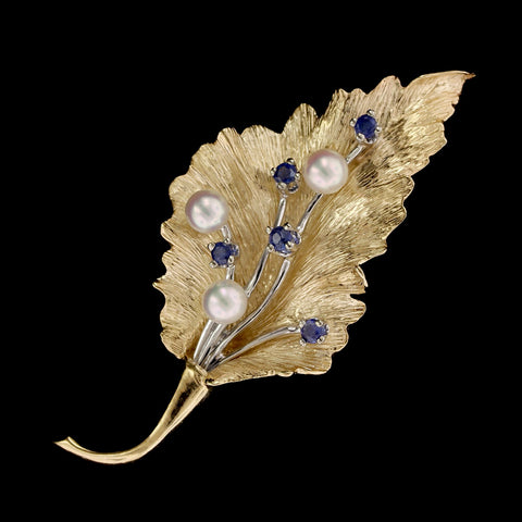 14K Two-tone Gold Estate Cultured Pearl and Sapphire Leaf Pin