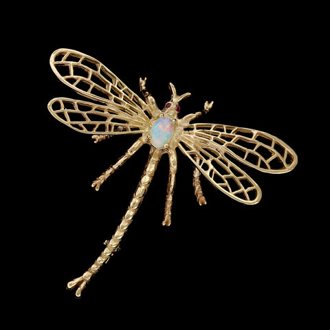 14K Yellow Gold Opal Dragonfly Pin