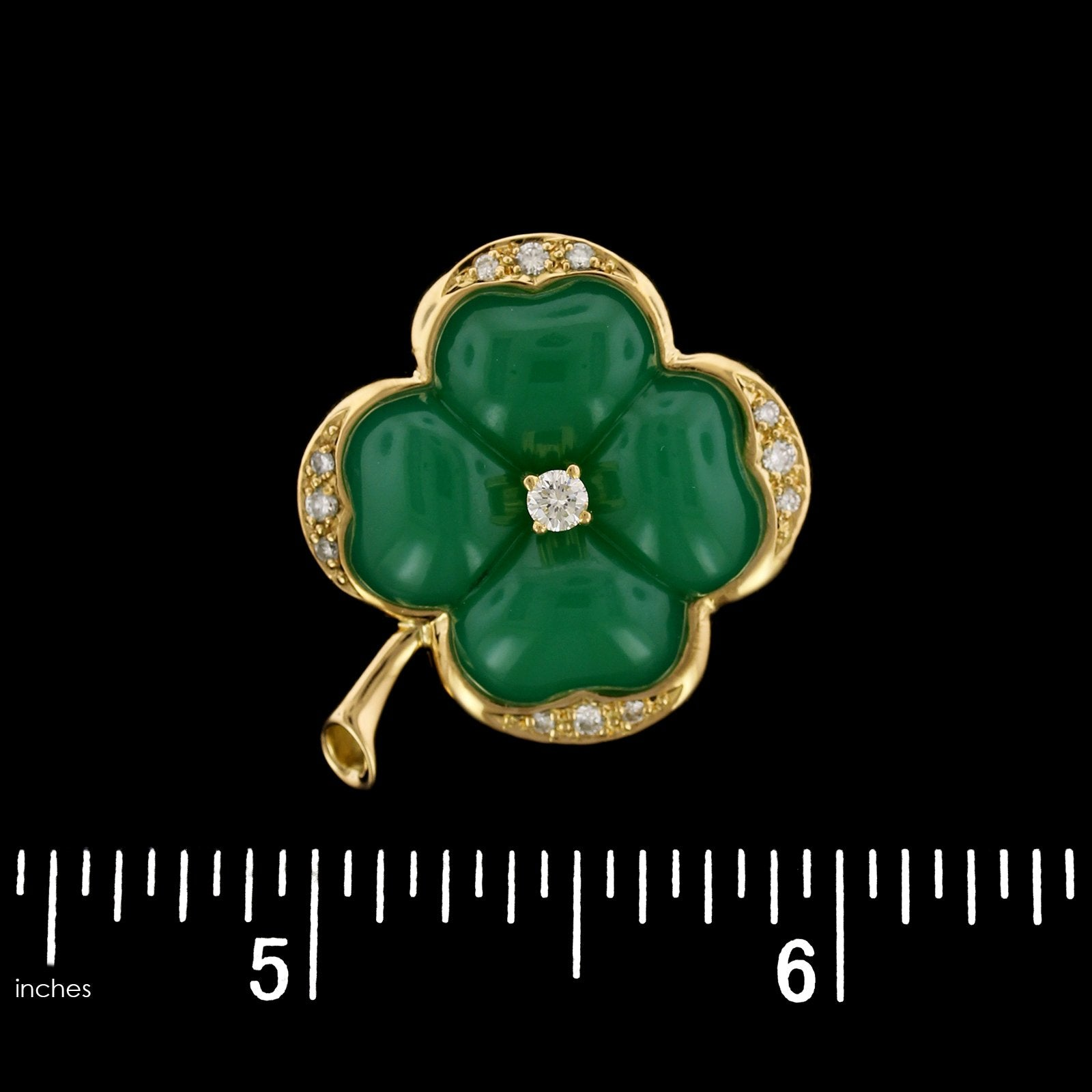 Luth Bijoux 18K Yellow Gold Estate Green Quartz and Diamond 4 Leaf Clover Pin/Pendant