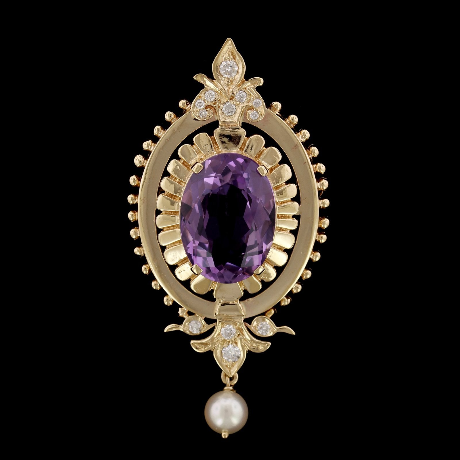 14K Yellow Gold Estate Amethyst, Cultured Pearl and Diamond Pin/Pendant