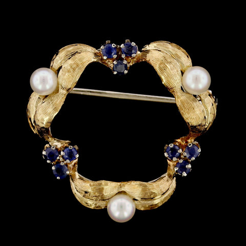 18K Yellow Gold Estate Cultured Pearl and Sapphire Circle Pin
