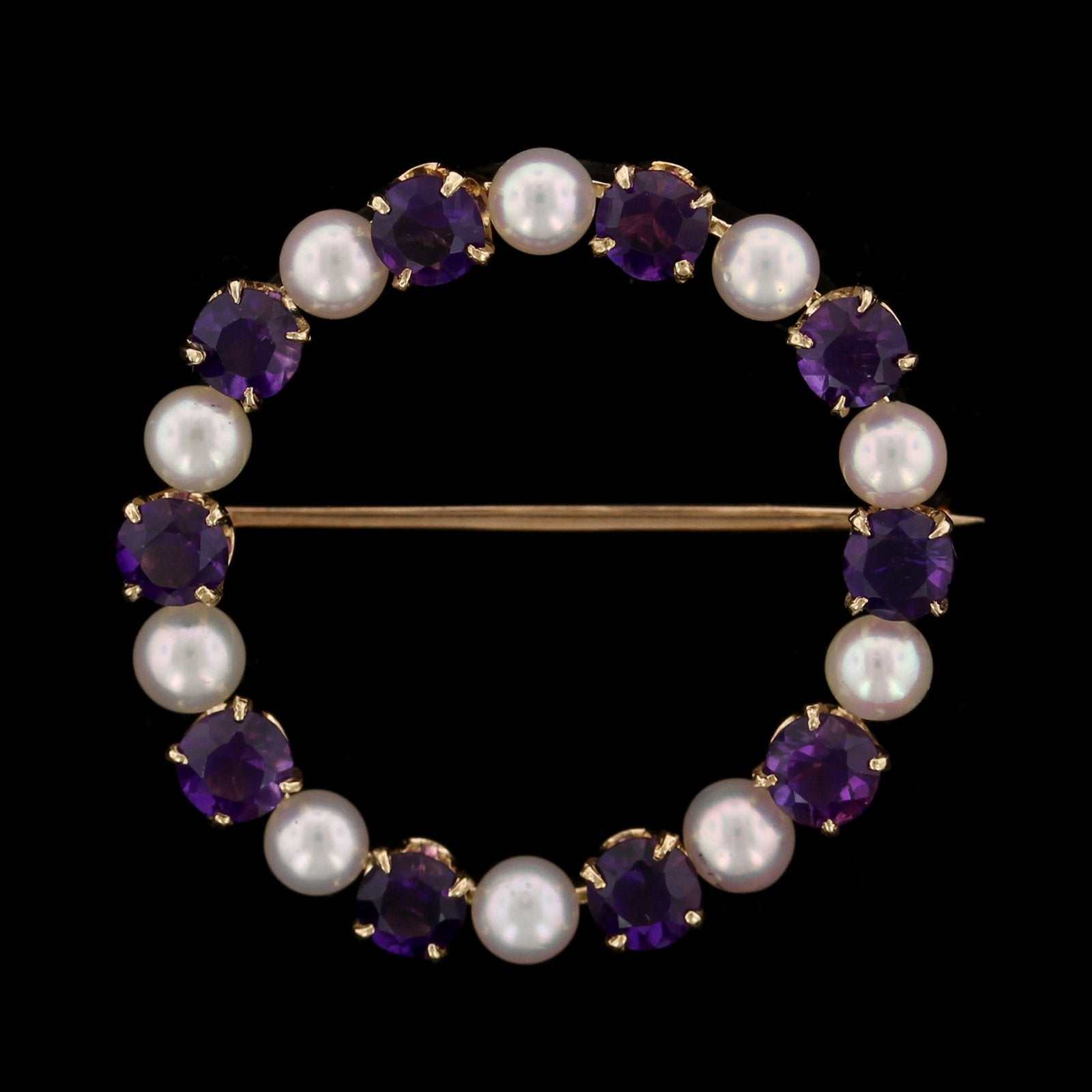 14K Yellow Gold Estate Cultured Pearl and Amethyst Circle Pin