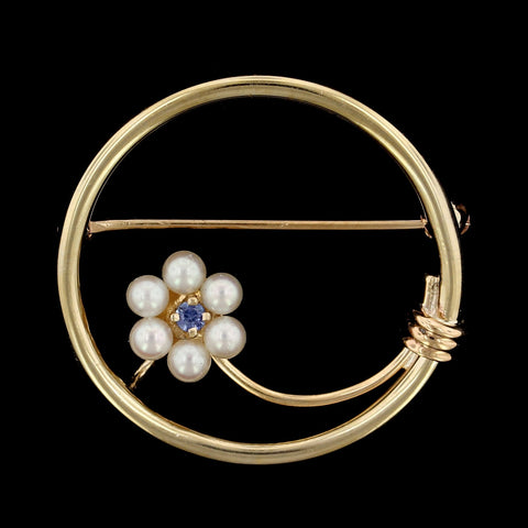 14K Yellow Gold Estate Cultured Pearl and Sapphire Circle Pin