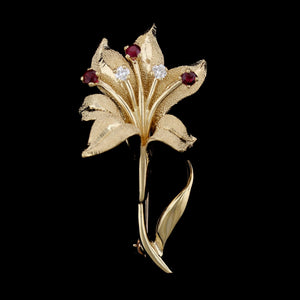 14K Yellow Gold Ruby and Diamond Lily Pin