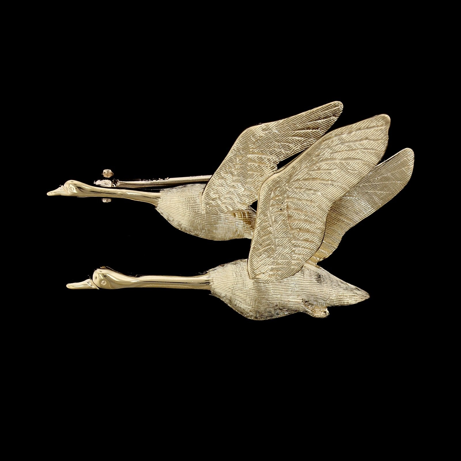 14K Yellow Gold Flying Geese Pin