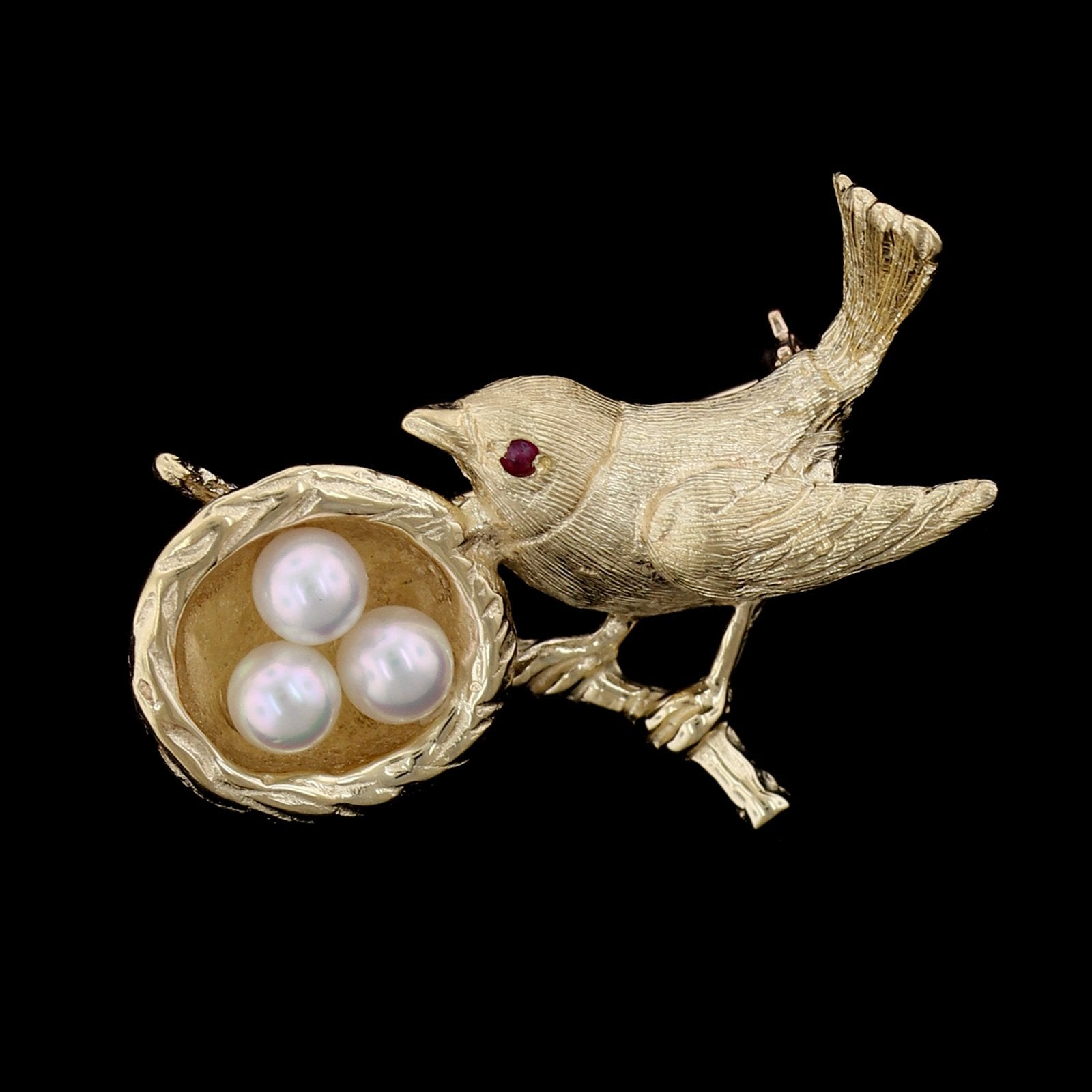 14K Yellow Gold Cultured Pearl and Ruby Bird with Nest Pin