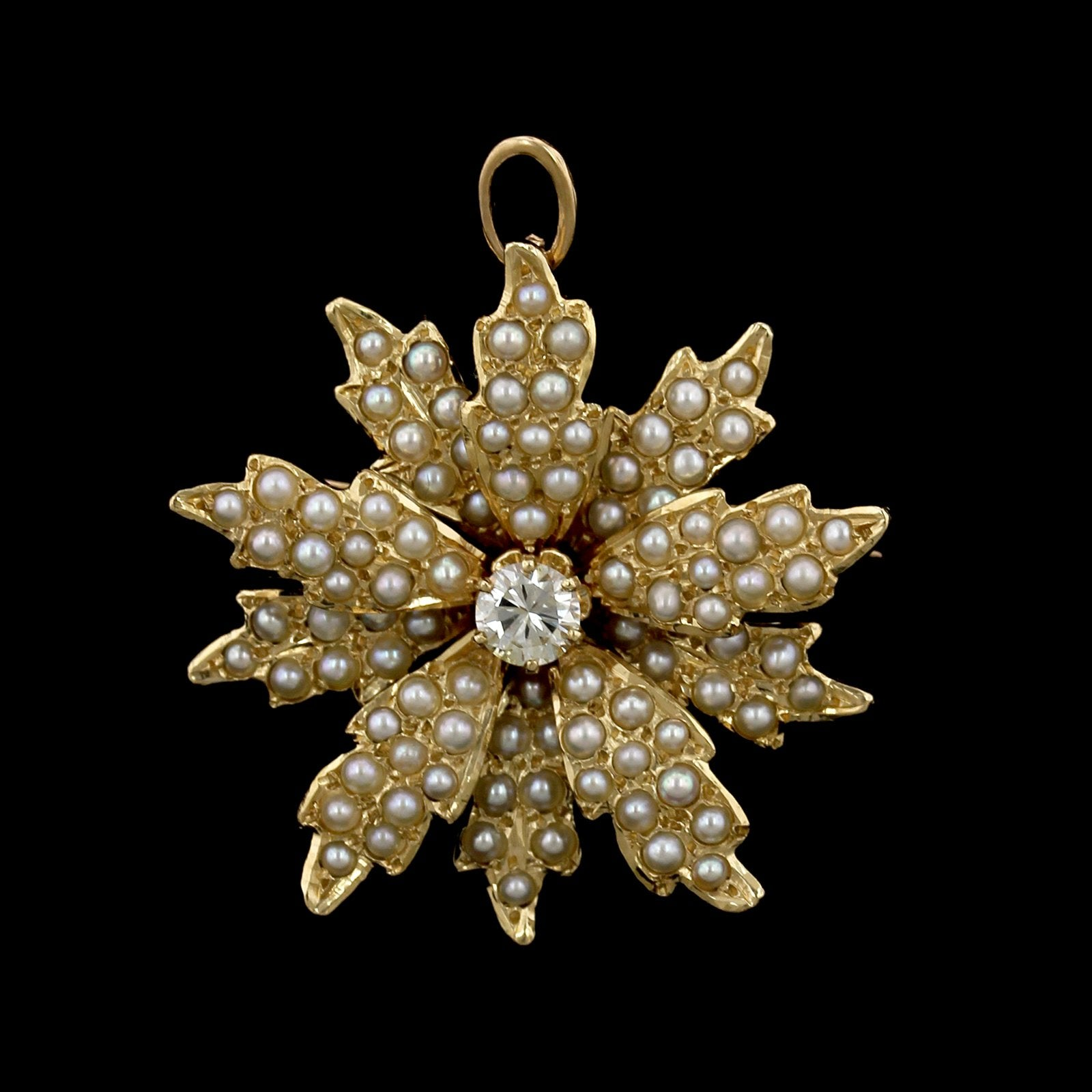 Vintage 14K Yellow Gold Estate Cultured Seed Pearl and Diamond Flower Pin/Pendant