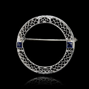 Vintage 14K White Gold Estate Circle Pin