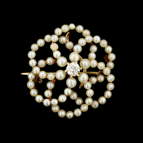 Victorian 14K Yellow Gold Seed Pearl and Diamond Pin