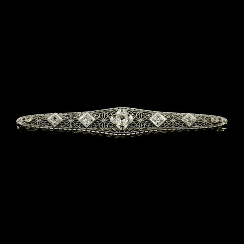 Vintage 14K White Gold Diamond Bar Pin