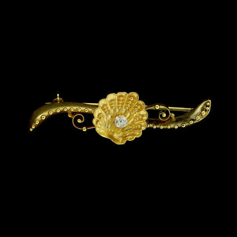 Antique 14K Yellow Gold Diamond Bar Pin