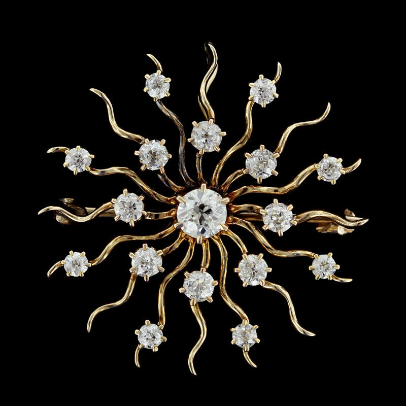 Antique 14K Yellow Gold Diamond Starbust Pin