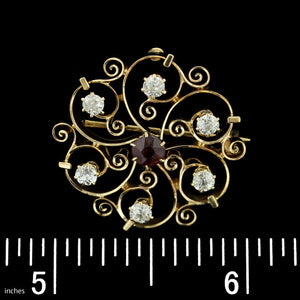 Vintage 14K Yellow Gold Ruby and Diamond Pin