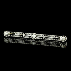 Vintage Platinum Diamond Bar Pin