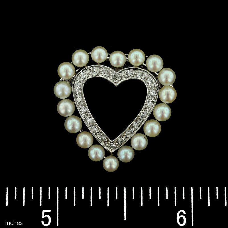 Vintage 14K White Gold Pearl and Diamond Heart Pin/Pendant