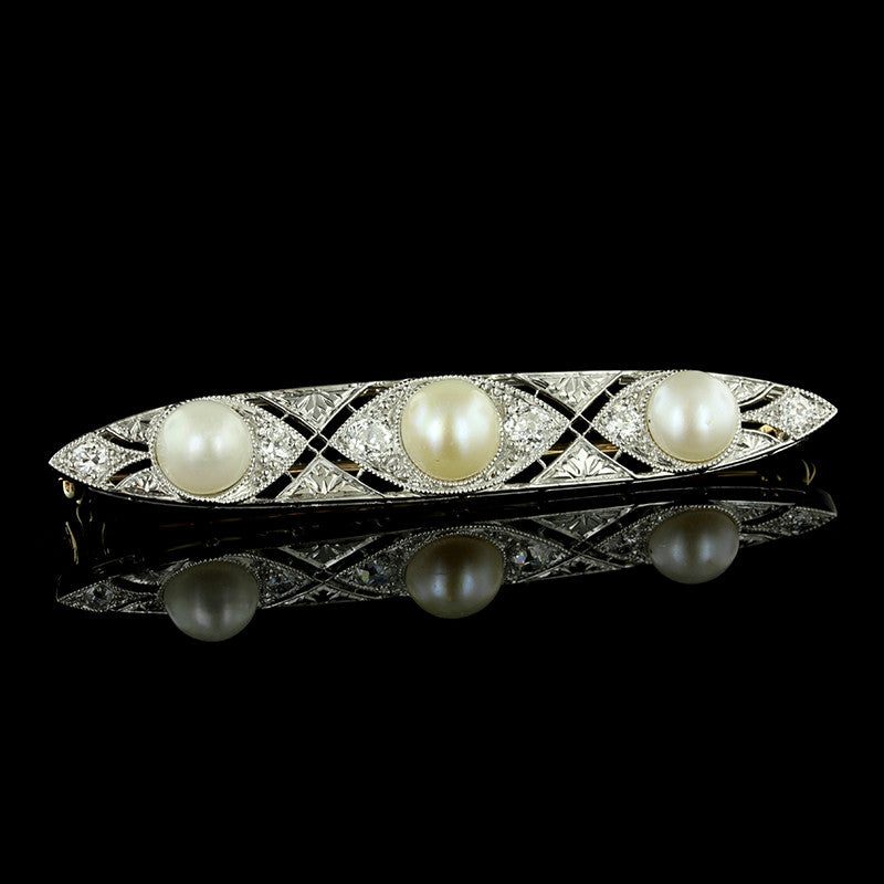 Edwardian Platinum and 14K Yellow Gold Pearl and Diamond Bar Pin