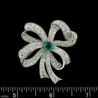 Vintage Platinum and 14K White Gold Diamond and Emerald Bow Pin