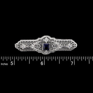 Vintage 14K White Gold Synthetic Sapphire and Diamond Bar Pin