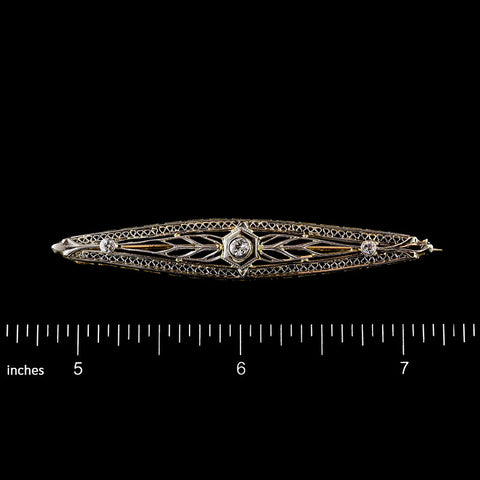 Antique 14K Yellow Gold Platinum Topped Diamond Bar Pin