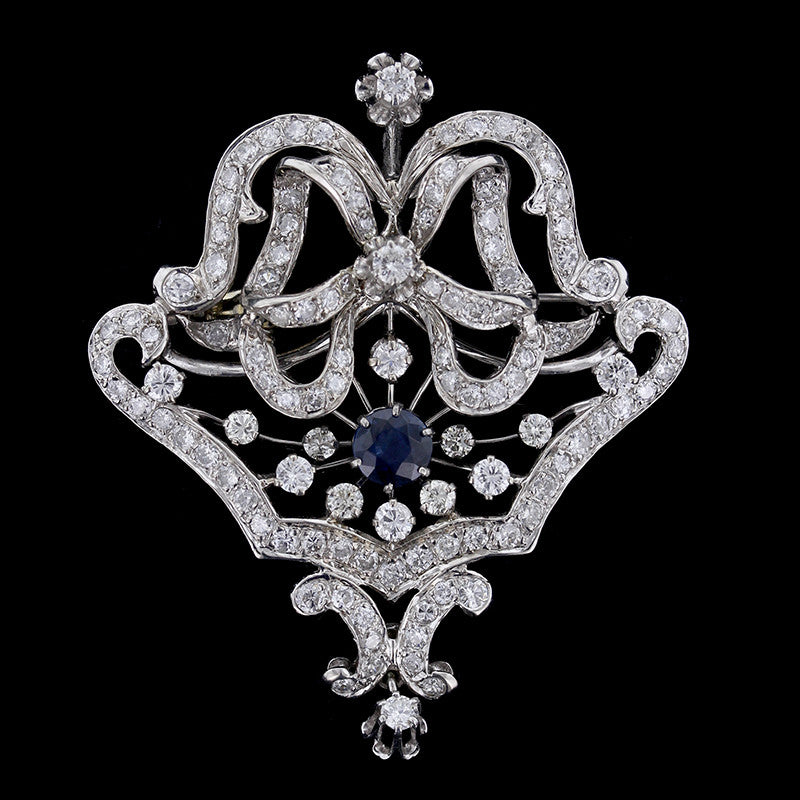 Vintage 14K White Gold Diamond and Sapphire Pin