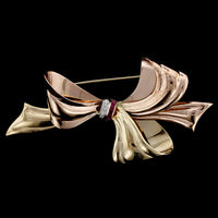 Retro 14K Tricolor Gold Ruby and Diamond Bow Pin