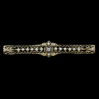 Antique 14K Yellow Gold Diamond, Pearl and Seed Pearl Bar Pin