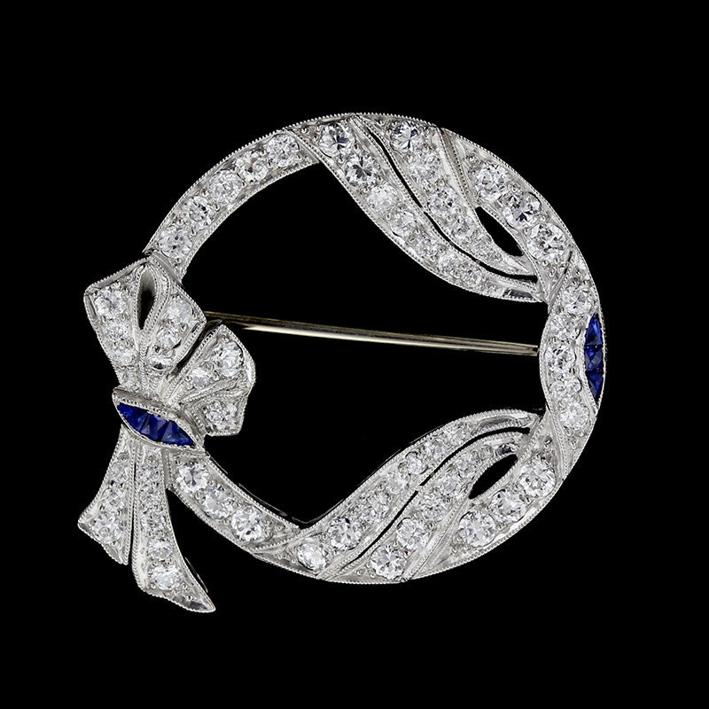 Art Deco Platinum Diamond and Sapphire Circle Pin