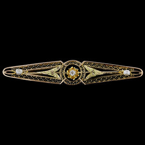 Vintage 14K Yellow Gold Diamond and Pearl Bar Pin