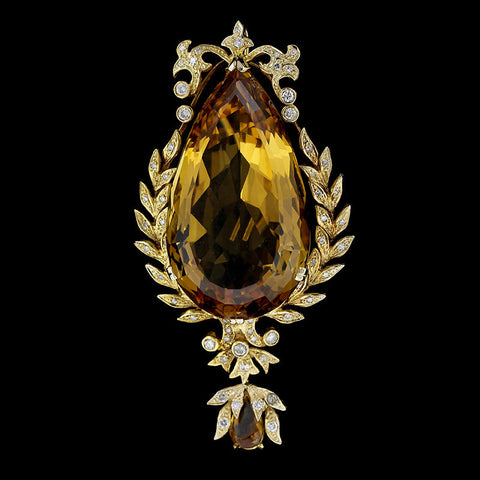 Vintage 14K Yellow Gold Citrine and Diamond Pendant