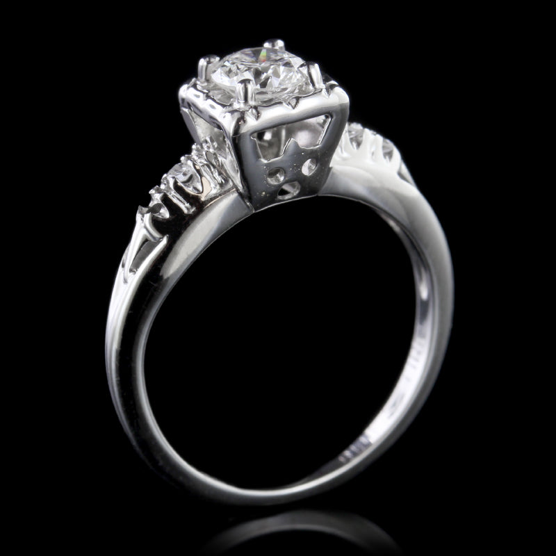 14K White Gold Estate Diamond Solitaire Engagement Ring