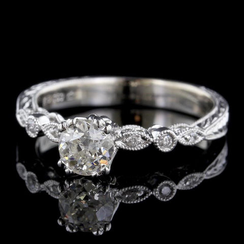 Vintage Style 18K White Gold Diamond Solitaire Engagement Ring