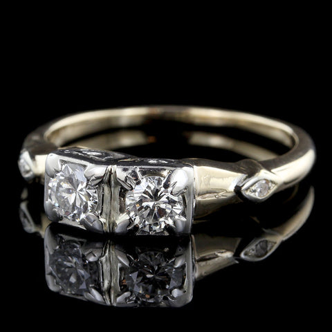Vintage 14K Two-tone Two Stone Diamond Engagement Ring