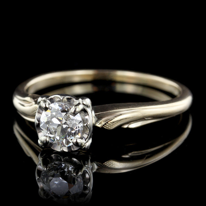 Vintage 14K Two-tone Diamond Solitaire Engagement Ring