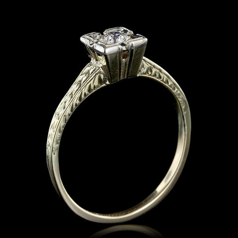 Vintage 14K Yellow Gold Diamond Solitaire Engagement Ring