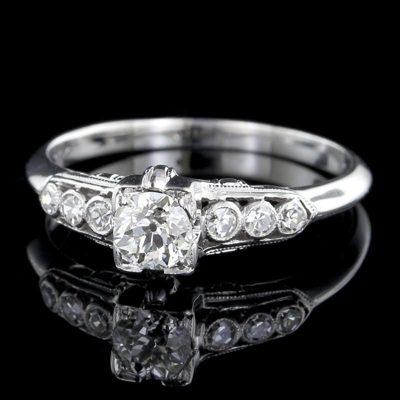 Vintage 18K White Gold Diamond Solitaire Engagement Ring