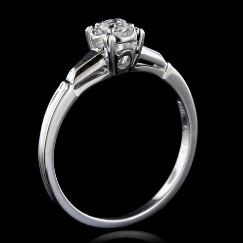 18K White Gold Diamond Solitaire Engagement Ring