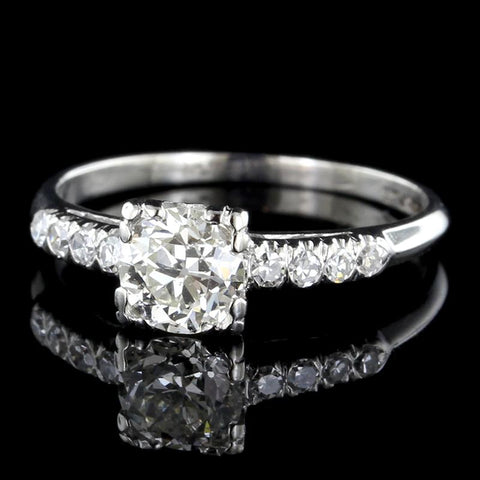 Vintage Platinum Solitaire Diamond Engagement Ring