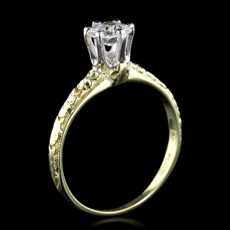 Vintage 18K Yellow Gold and Platinum Solitaire Diamond Engagement Ring