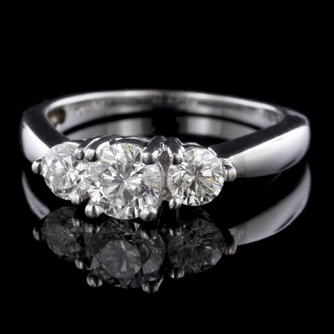 14K White Gold and Platinum Diamond Three Stone Ring