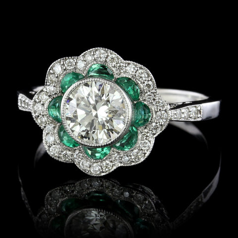 14K White Gold Vintage Style Diamond and Emerald Engagement Ring