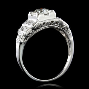 Vintage 18K White Gold Diamond Engagement Ring