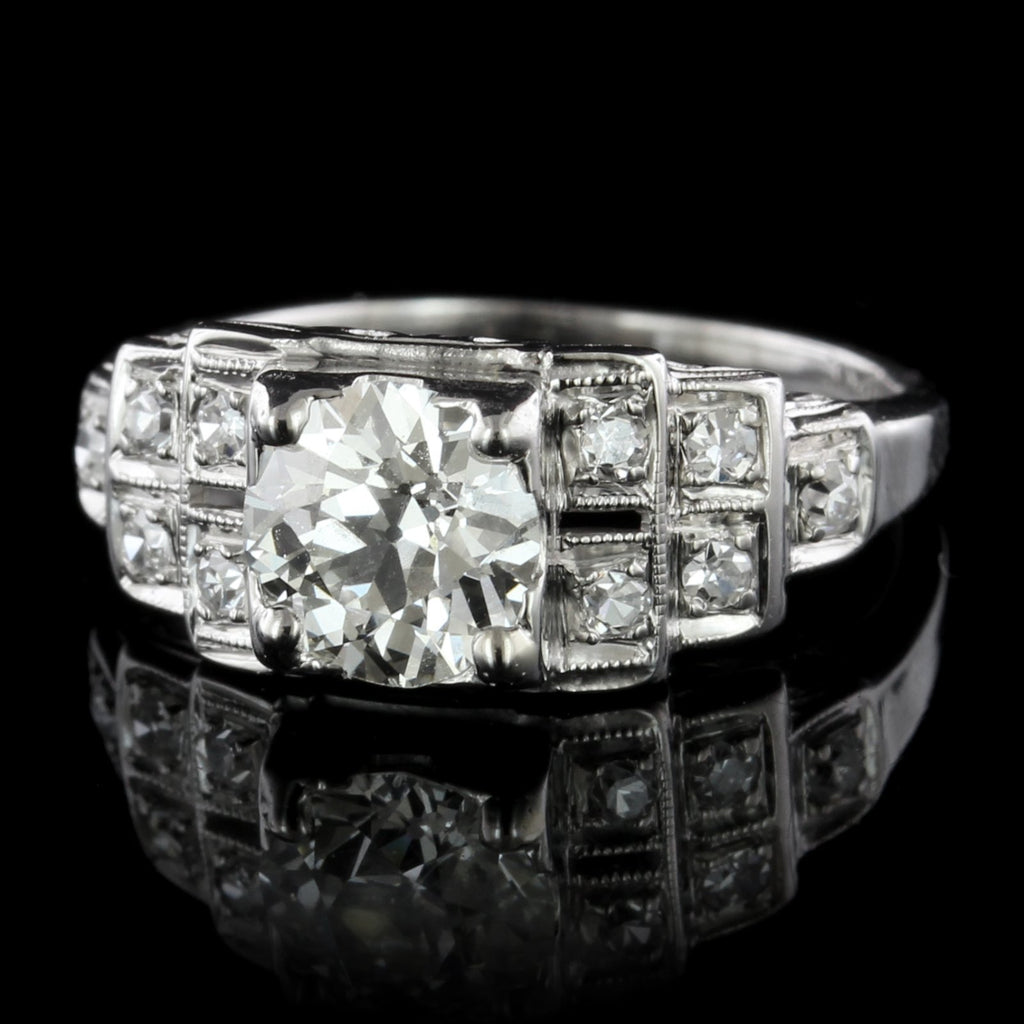 Vintage 18K White Gold Estate Diamond Engagement Ring