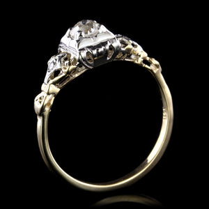 Vintage 14K Two-Tone Diamond Engagement Ring