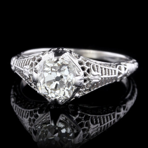 Antique 18K White Gold Diamond Solitaire Engagement Ring