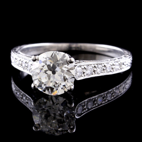 Vintage Style Platinum Diamond Solitaire Engagement Ring