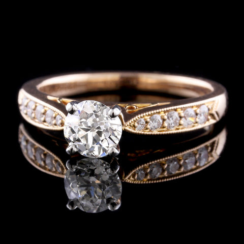 Vintage Style 14K Rose Gold Diamond Solitaire Engagement Ring