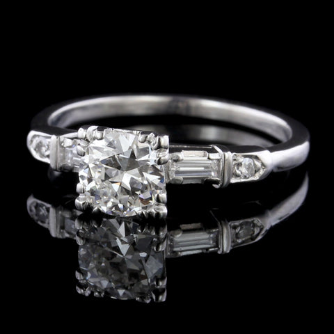 Vintage Platinum Estate Diamond Solitaire Engagement Ring