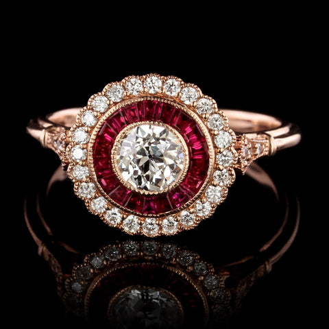 ede0bdbbc Vintage Style 14K Rose Gold Diamond Engagement Ring